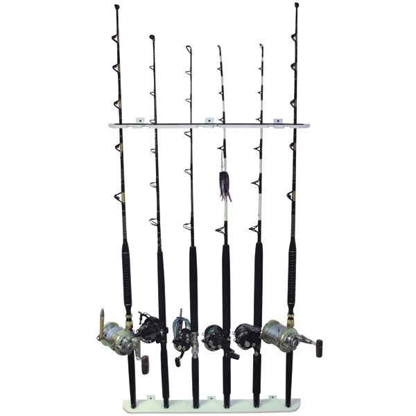 Taco marine 6 rod polyethylene wall mount rod rack west for Wall fishing rod holder