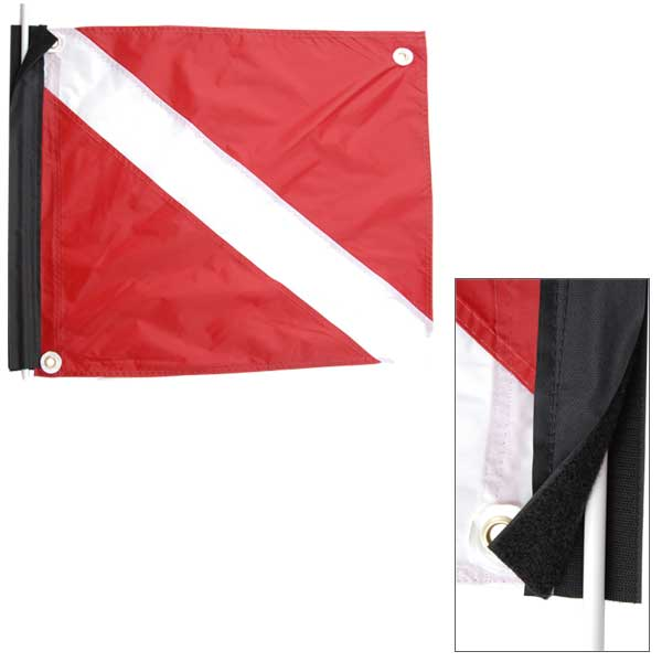 "Deluxe Nylon Dive Flag with Stiffener, 20"" X 24"""