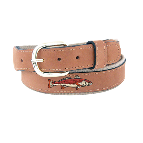 Men's Redfish Embroidered Belt