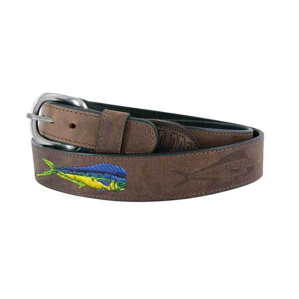 Men's All Leather Dolphin Fish Belt