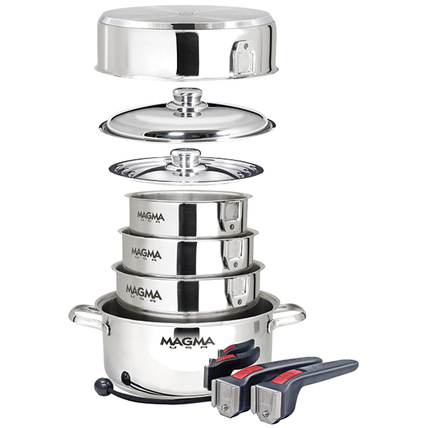 Magma 10 piece nesting cookware stainless steel induction for Buy kitchen cookware