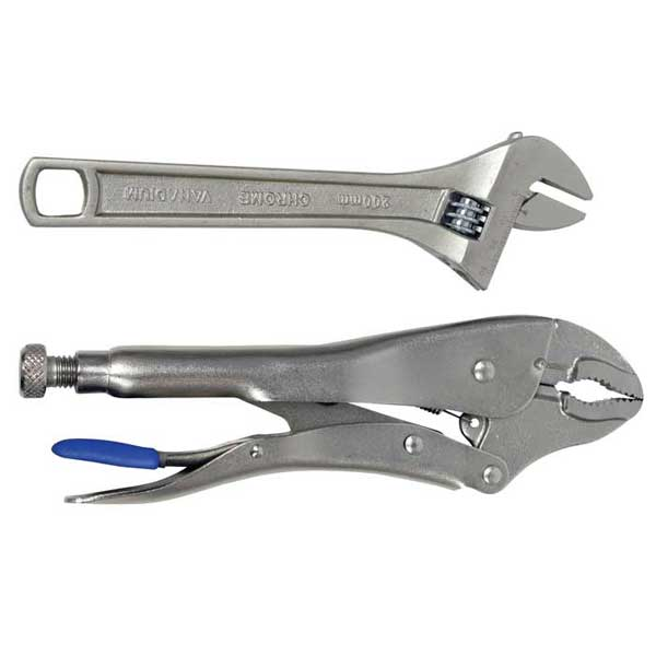 "8"" Adjustable Wrench & 10"" Locking Pliers Set"