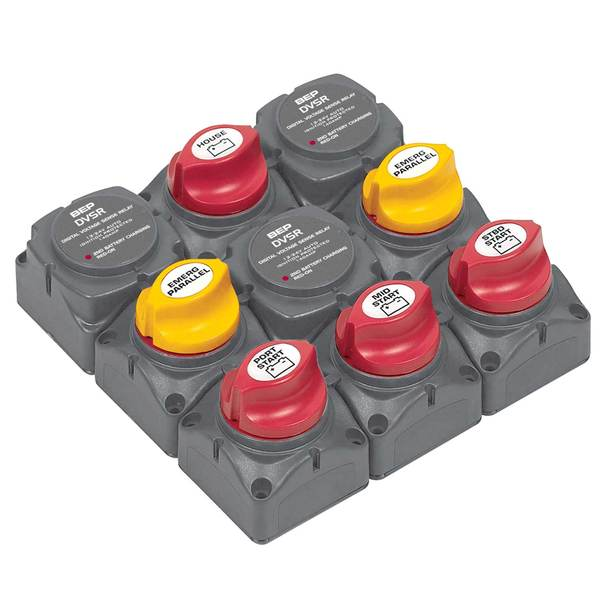 Battery Distribution Cluster for Triple Outboard Engine, Four Battery Banks