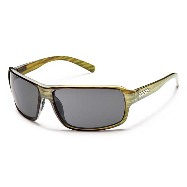 Suncloud Tailgate Polarized Sunglasses, Green Stripe Frame with Gray Lenses