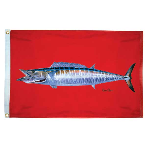 "Carey Chen Wahoo Flag, 24"" x 36"""