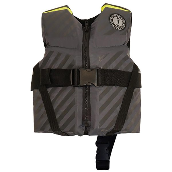 Mustang Survival Lil Legends 70 Life Jacket, Child 30-50lb, Gray/Fluorescent Green