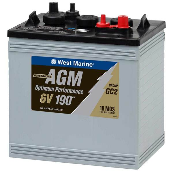 Dual-Purpose AGM Battery, 190 Amp Hours,  6V, Group GC2