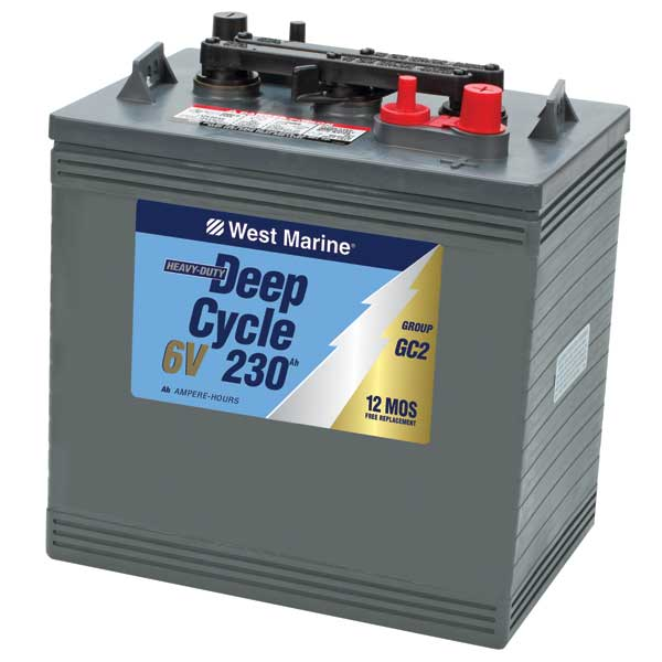 6V Deep Cycle Flooded Marine Battery, 230 Amp Hours, Group GC2