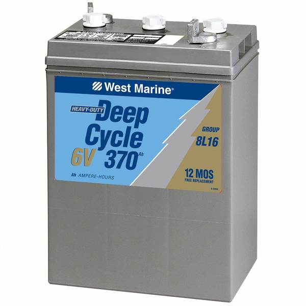 6V Deep Cycle Flooded Marine Battery, 370 Amp Hours, Group 8L16
