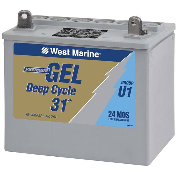 Group U-1 Gel Deep Cycle Marine Gel Battery, 31.6 Amp Hours