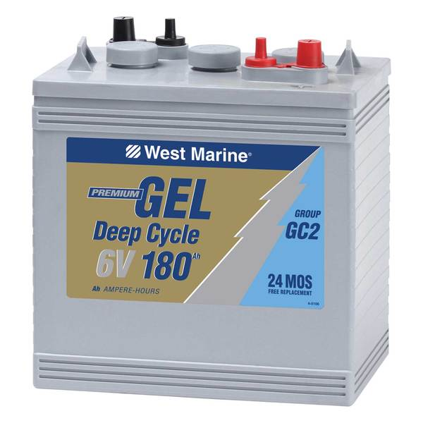 Group 6V Gel Deep Cycle Marine Gel Battery, 180 Amp Hours