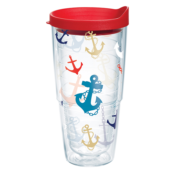 24 oz. Anchor Print Tumbler with Lid