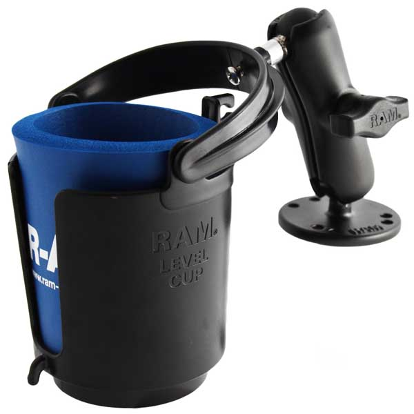 "Ram Self-Leveling Cup Holder with 1"" Ball and Cozy"