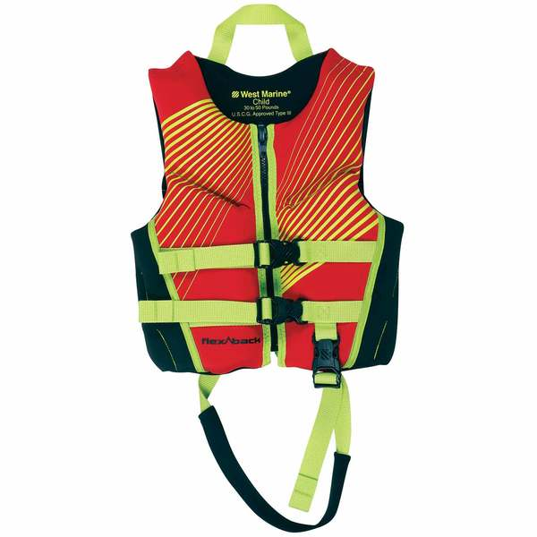 Deluxe Kids' Rapid Dry Life Jacket, Child 30-50lb., Red