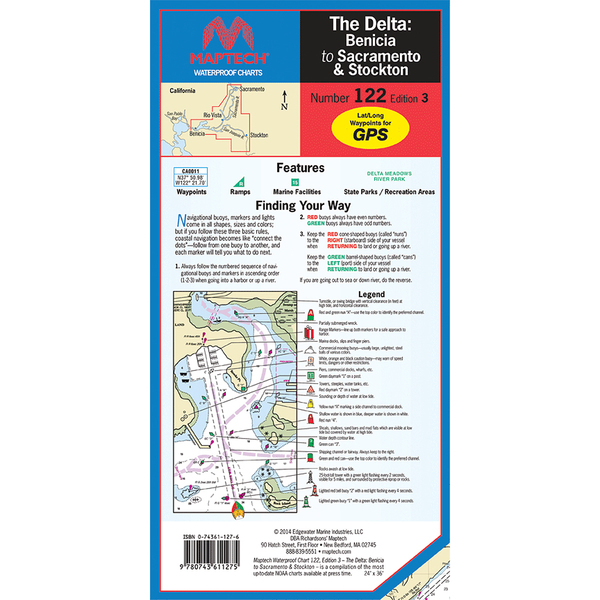 Maptech waterproof chart the delta benicia to sacramento stockton