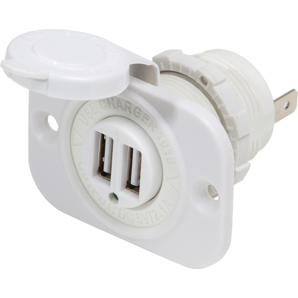 blue sea systems 12 24v dc white dual usb charger west marine