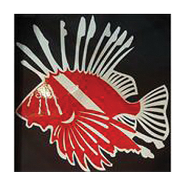 "8"" Vinyl Decal Lion Fish Dive Flag"