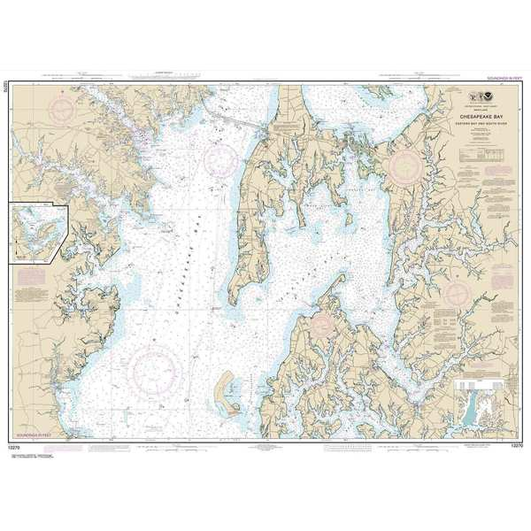 Marine Navigation-Noaa Chesapeake Bay, Eastern Bay and South River, Selby Bay, 36 X 49, Waterproof