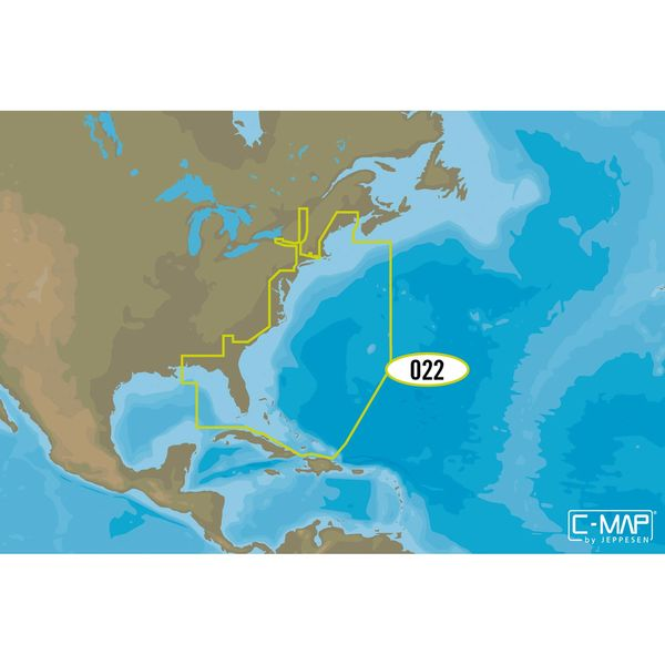 NA-Y022 USA East Coast and Bahamas C-MAP MAX-N+ Chart C-Card
