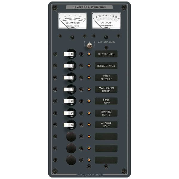 Traditional Metal DC Circuit Breaker Panel with Meters, 10-Position