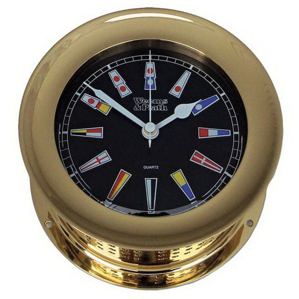 Brass Atlantis Nautical Flag Clock