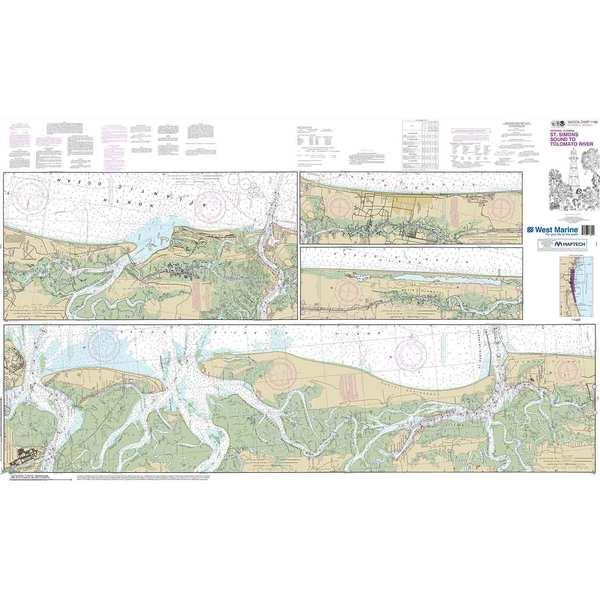 Maptech® NOAA Recreational Waterproof Chart-Intracoastal Waterway St. Simons Sound to Tolomato River, 11489