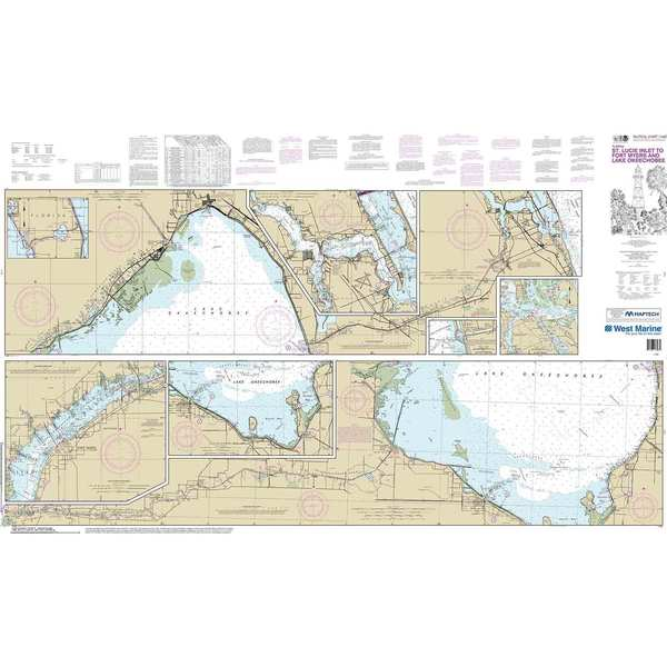 11428, Maptech® NOAA Recreational Waterproof Chart-Okeechobee Waterway St. Lucie Inlet to Fort Myers; Lake Okeechobee