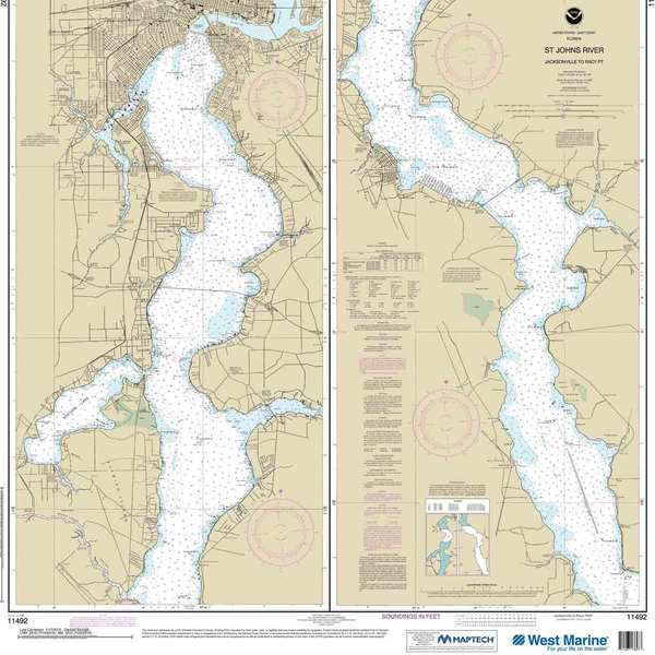 Maptech® NOAA Recreational Waterproof Chart-St. John's River Jacksonville to Racy Point, 11492