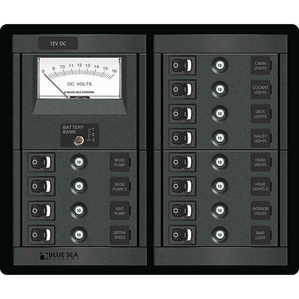 Blue Sea Systems 12 Position 12v Dc Clb Panel With