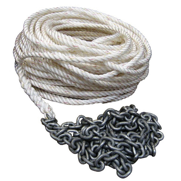 "Three-Strand Nylon Rope/High-Test Chain, Rope: 1/2"" x 300', Chain: 1/4"" x 20'"
