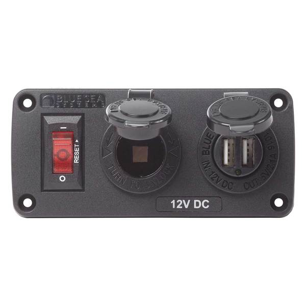 Blue Sea Systems Belowdeck Panel 12v Socket Amp Dual Usb