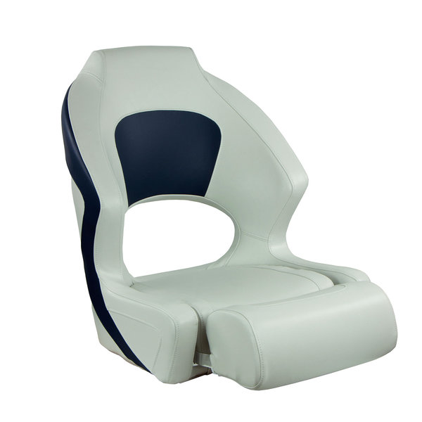 Deluxe Sport Flip-Up Seat, Blue And White Upholstery