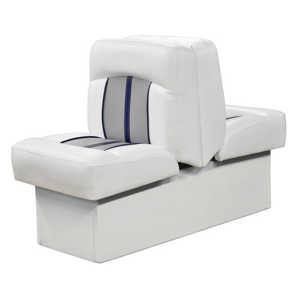 Wise Pinnacle Series Back to Back Lounge, White/Gray/Blue Piping