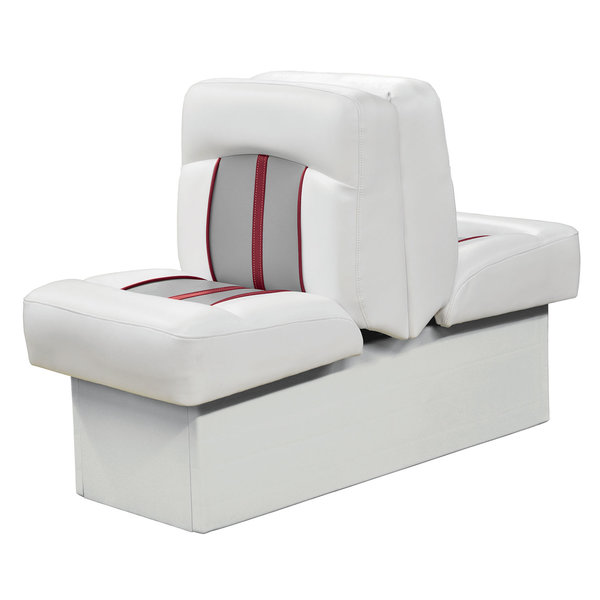 Wise Pinnacle Series Back to Back Lounge, White/Gray/Red Piping