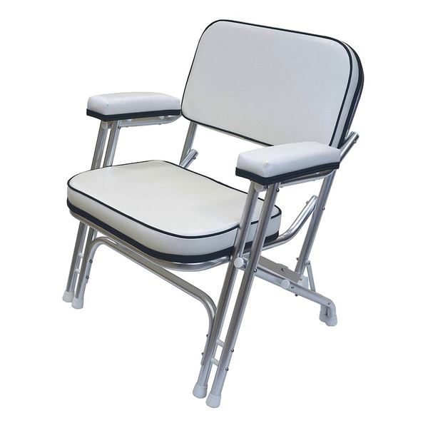 Folding Deck Chair with Aluminum Frame, White/Navy