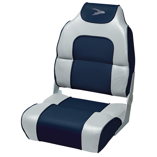 Alumacraft Style High Back Folding Boat Seat, Marble/Midnight