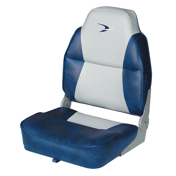 Alumacraft Style Contoured High Back Boat Seat, Gray/Navy