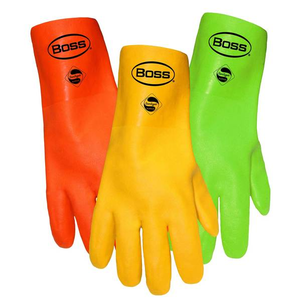 Lined Sandy Grip Double Dip Fluorescent PVC Gloves