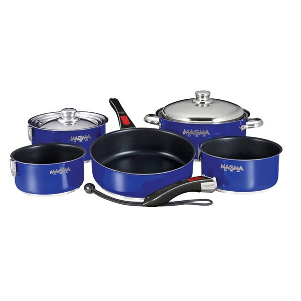 "10-Piece Professional Series Gourmet ""Nesting"" Cobalt Blue Stainless Steel Cookware with Ceramica® Non-Stick"