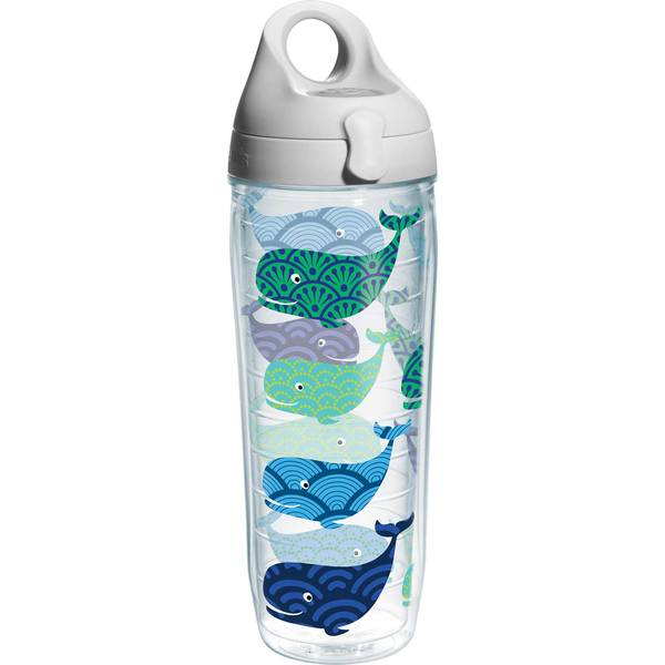 24 oz. Whale Pattern Wrap Water Bottle with Lid