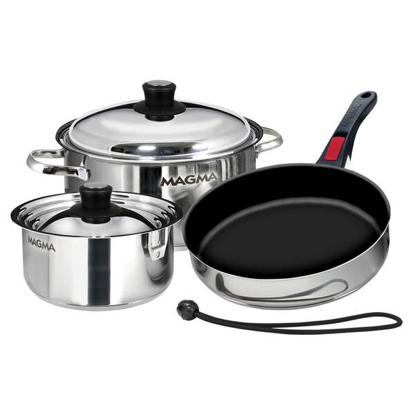 Professional Series Gourmet Nesting 7-Piece Stainless Steel Induction Cookware Set with Ceramica® Non-Stick