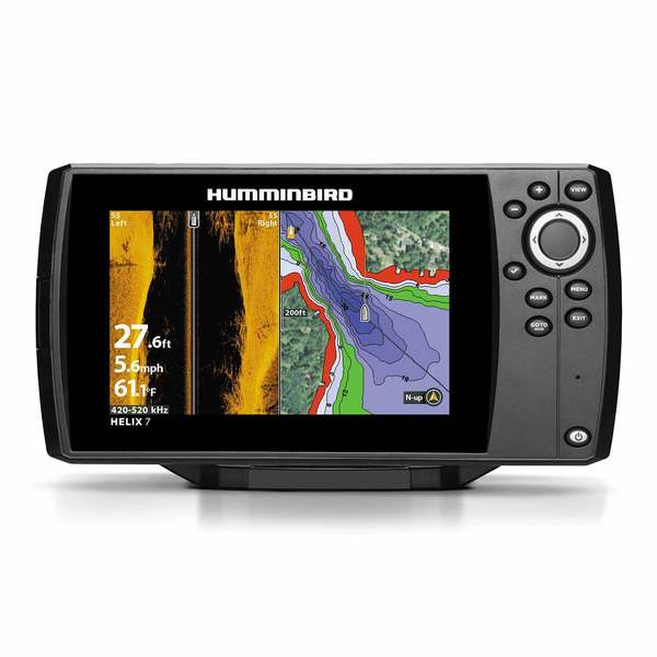 Helix 7 CHIRP SI GPS G2 Fishfinder/Chartplotter Combo with Transom Mount  Transducer and UniMap Charts