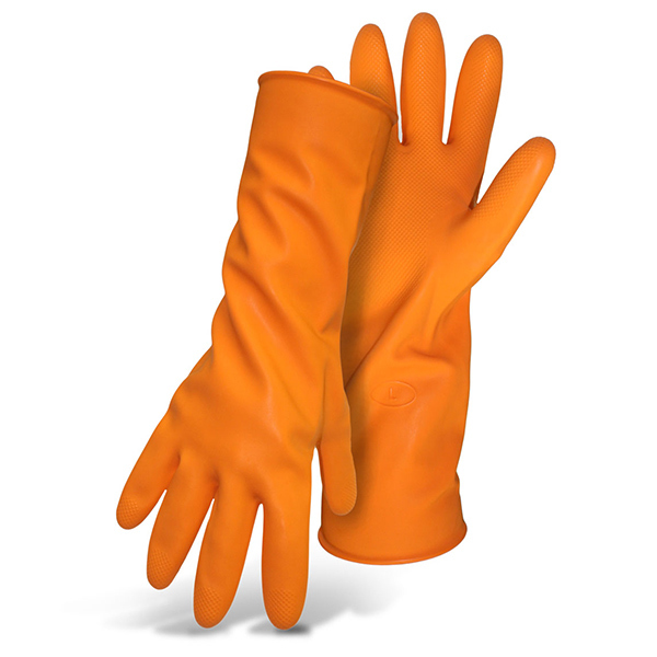 Orange Flock Lined Gloves