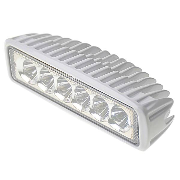 Six LED Aluminum Spreader/Docking Light with Stainless Steel Bracket, Blue/White
