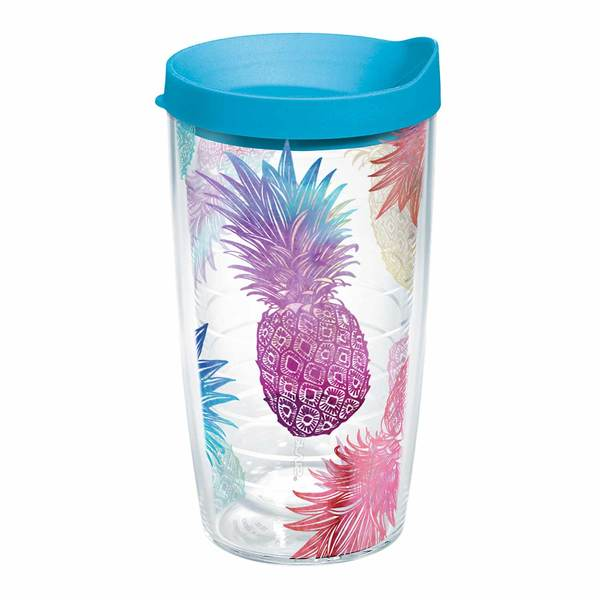 16 oz. Watercolor Pineapples Wrap Tumbler with Lid