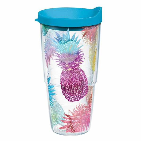 24 oz. Watercolor Pineapples Wrap Tumbler with Lid