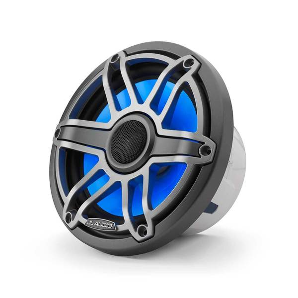 "M6-770X-S-GmTi-i 7.7"" Marine Coaxial Speakers, Gunmetal & Titanium Sport Grilles with RGB LED Lighting"
