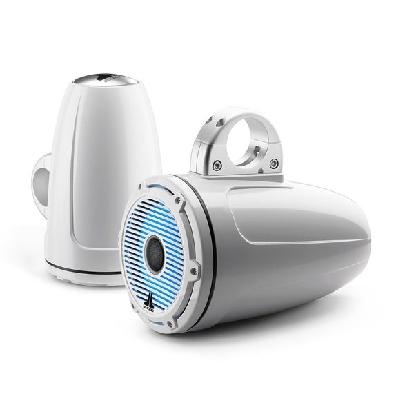 "M6-770ETXv3-Gw-C-GwGw-i 7.7"" Enclosed Marine Coaxial Speaker System, Gloss White, White Classic Grille with RGB LED Lighting"