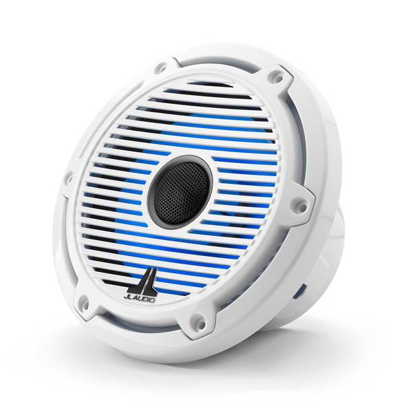 "M6-650X-C-GwGw-i 6.5"" Marine Coaxial Speakers, White Classic Grilles with RGB LED Lighting"