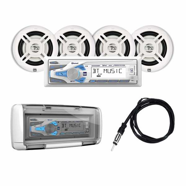 MXCP494BTS Marine Digital Media and Bluetooth Receiver Package with 4 Speakers and Splash Guard